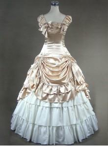 Victorian Retro Champagne Color Ruffles Classic Lolita Prom Dresses