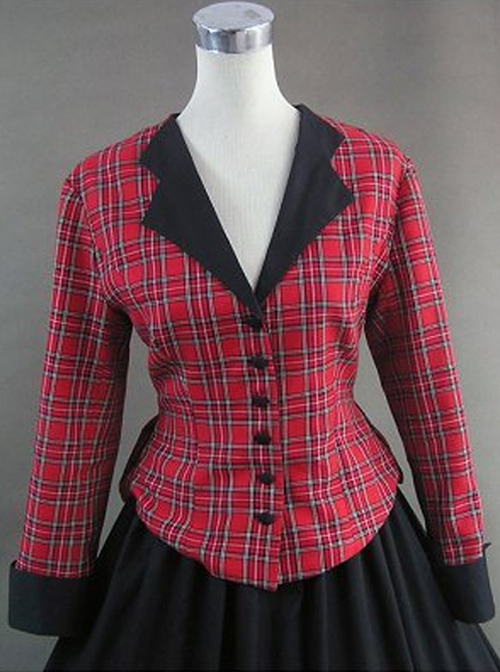 Renaissance Student Style Red Plaid Top And Skirt Two-piece Set Lolita Prom Dress