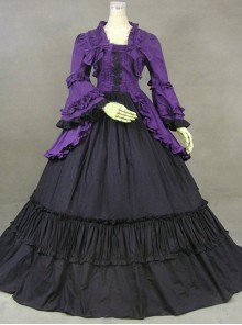 British Style Gorgeous Palace Style Purple And Black Lolita Prom Dress