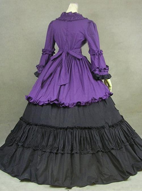 British Style Gorgeous Palace Style Purple And Black Lolita Prom Dress