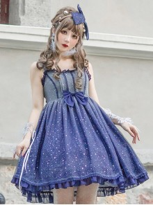 Blue Gradient Starry Sky Classic Lolita Sling Dress