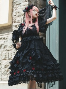 Swan Lake Series Lace Gothic Lolita Short Sleeve Dress