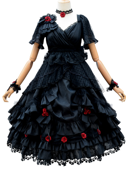 Swan Lake Series Lace Gothic Lolita Short Sleeve Dress