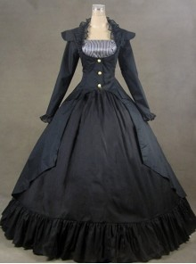Black Palace Style Retro Long Sleeve Gothic Lolita Prom Dress