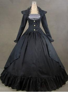 Black Palace Style Retro Long Sleeve Gothic Lolita Prom Dress