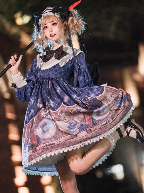 Magic Crystal Cat Series OP Halloween Gothic Lolita Long Sleeve Dress