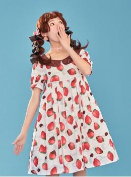 7c573f4a704 Chocolate Strawberry Lapel High Waist Classic Lolita Short Sleeve Dress