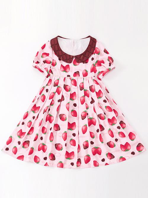 Chocolate Strawberry Lapel High Waist Classic Lolita Short Sleeve Dress