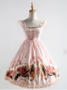 Elegant Printing Classic Lolita Fly Sleeve Dress