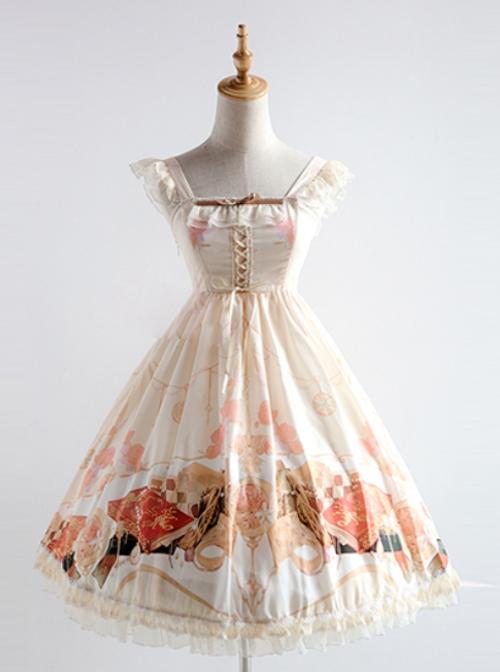 Elegant Printing Classic Lolita Fly Sleeve Dress