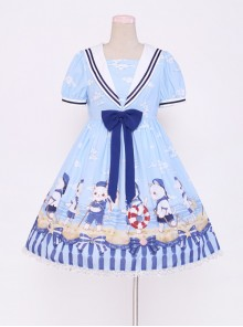 Blue Chiffon Bowknot Navy collar Sweet Lolita Short Sleeve Dress