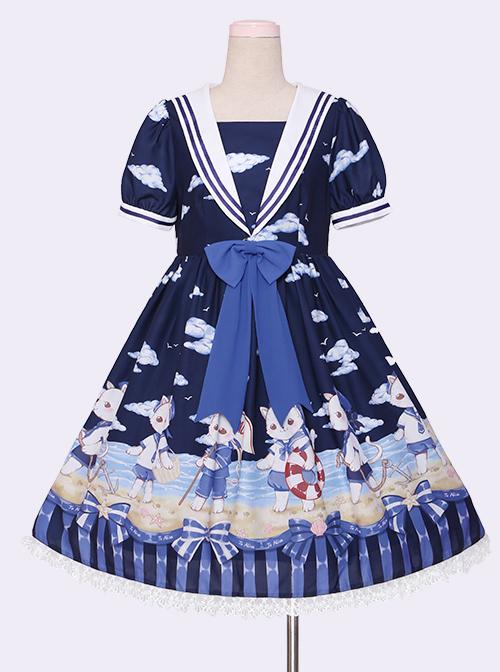 Blue Chiffon Bowknot Navy collar Sweet Lolita Short Sleeve Dress