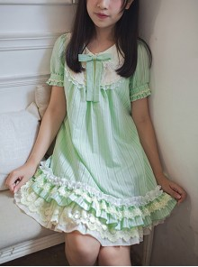 Bowknot Lace Ruffles Classic Lolita Short Sleeve Dress