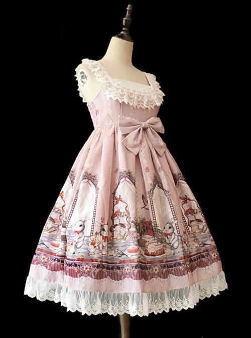 *Royal Rabbit Tea Party* Chiffon Little High Waist Classic Lolita Sling Dress