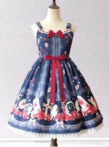 Crucifix Rose Popsicle Printing Classic Lolita Sling Dress