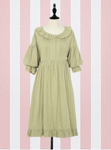 Cute Ruffle Collar Classic Lolita Lantern Short Sleeve Dress And Lolita Apron