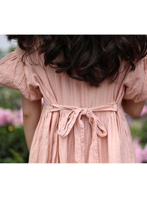 Cute Ruffle Collar Classic Lolita Lantern Short Sleeve Dress And Lolita Apron