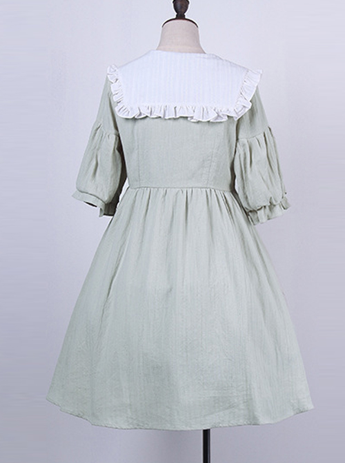 Cute Navy Collar Embroidery Sweet Lolita Lantern Short Sleeve Dress