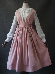 Pure-color V Collar Classic Lolita Vest Dress