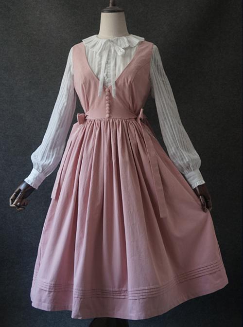 Pure-color V Collar Classic Lolita Vest Dress