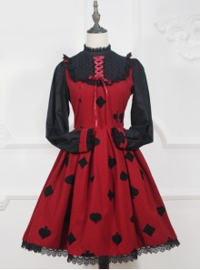Red Queen Series Retro Fairy Tales Style Woolen Long Sleeve Classic Lolita Dress