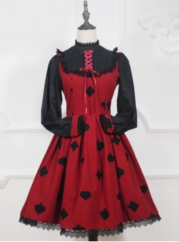 Red Queen Series Retro Fairy Tales Style Woolen Embroidered Long Sleeve Classic Lolita Dress