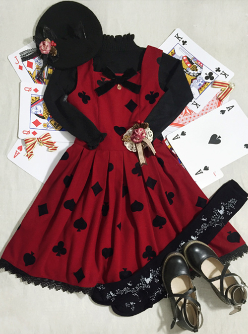 Red Queen Series Retro Fairy Tales Style Woolen Embroidered Classic Lolita Vest Dress