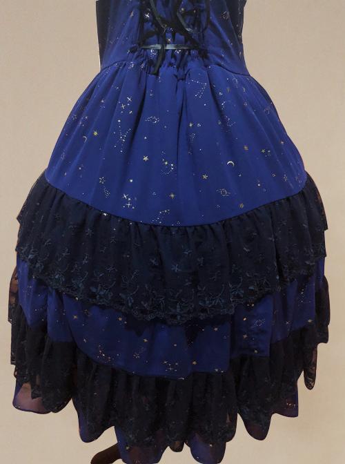 Bronzing Chiffon Navy Blue Ruffles Classic Lolita Dress