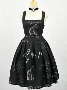 Schrodinger's Cat Series Printing High Waist Classic Lolita Sling Dress