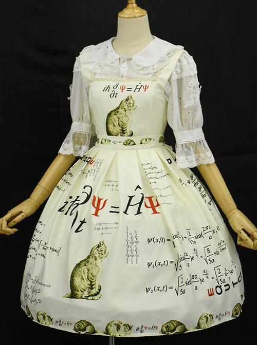Schrodinger's Cat Series Printing High Waist Classic Lolita Sling Dress