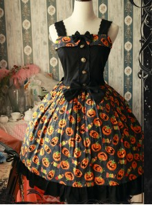 Magic Tea Party Halloween Pumpkin Head Printing Gothic Lolita Sling Dress