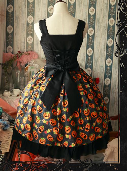 Magic Tea Party Halloween Pumpkin Head Printing Gothic Lolita Sling Dress