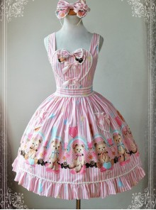 Magic Tea Party Balloon Bear Printing Sweet Lolita Sling Dress