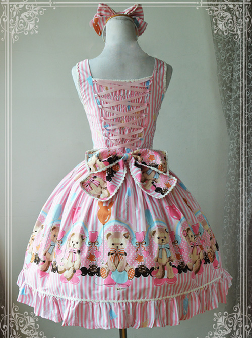 Magic Tea Party Balloon Bear Printing Sweet Lolita Sling Dress