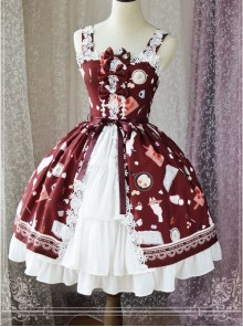 Magic Tea Party Sunny Day And Food Series Printing Classic Lolita JSK Sling Dress Version 2