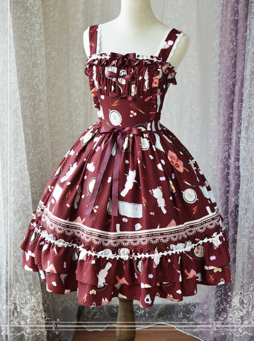 Magic Tea Party Sunny Day And Food Series Printing Classic Lolita JSK Sling Dress Version 1