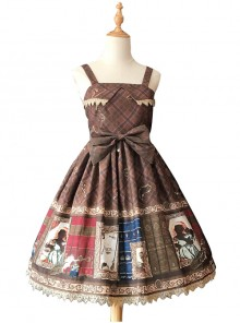 Magic Dictionary Series Plaids Printing Classic Lolita Sling Dress