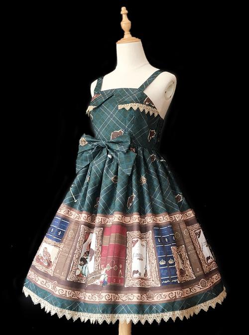 Magic Dictionary Series Plaids Printing Classic Lolita Sling Dress