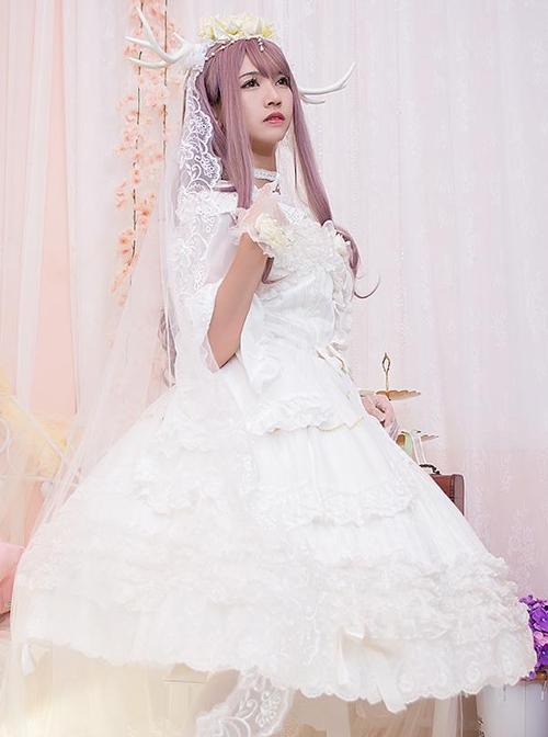 White Bride Chiffon Classic Lolita Sling Dress JSK