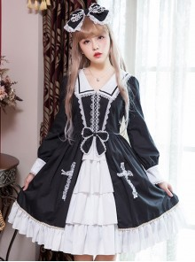 Black And White Bowknot Lace Crucifix Gothic Lolita Lapel Long Sleeve Dress