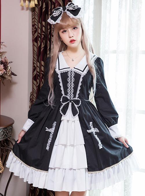 Black And White Bowknot Lace Crucifix Gothic Lolita Lapel Long Sleeve Dress
