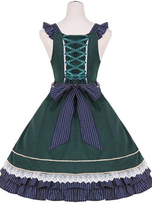 Lace Bowknot Ruffles Sling Dress Classic Lolita JSK