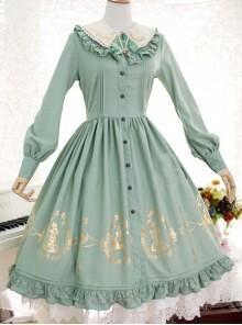 22ad6a79ef5eed Alice In Wonderland Series OP Classic Lolita Long Sleeve Dress