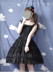 Pure Black And Pure White JSK Classic Lolita Sling Dress
