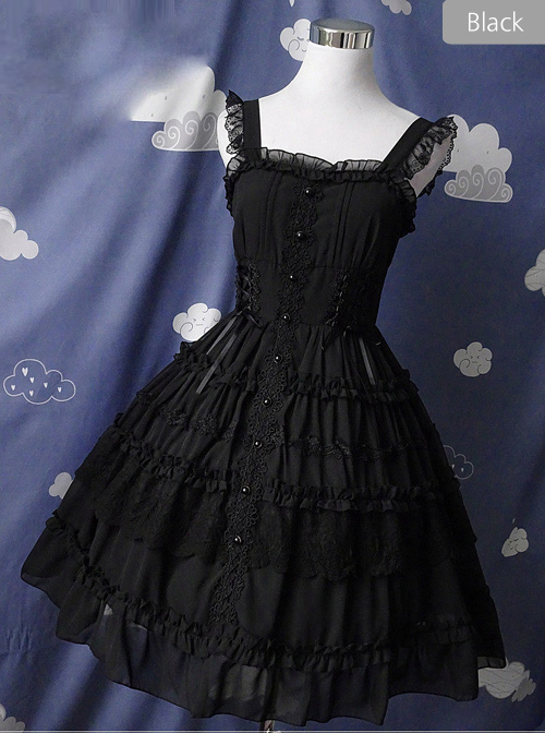 Pure Black And Pure White JSK Classic Lolita Sling Dress