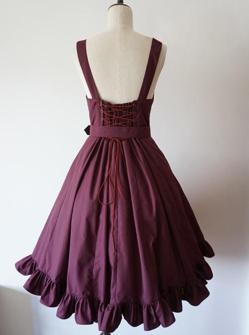 Pure Color Lace-up Punk Lolita Deep Collar Dress