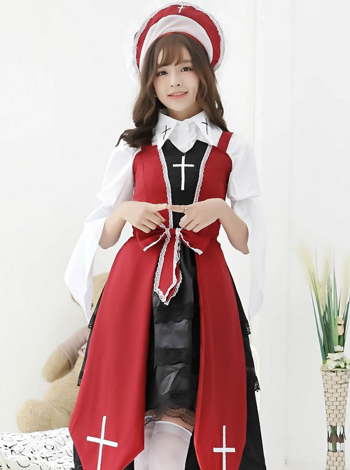 Cross Witch Gothic Lolita Black Or Red Dress And Shirt And Hat Set