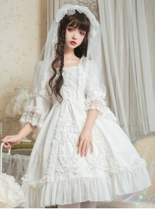 Pure White Retro Gorgeous Trumpet Sleeve Classic Lolita Wedding Dress