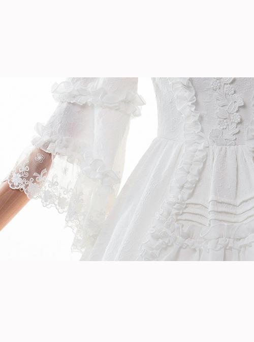 Pure White Retro Gorgeous Trumpet Sleeve Classic Lolita Wedding Dress