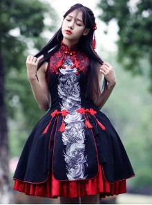 Tsing Lung White Tiger Series Tsing Lung Chinese Style Classic Qi Lolita Sleeveless Dress And Shawl Set
